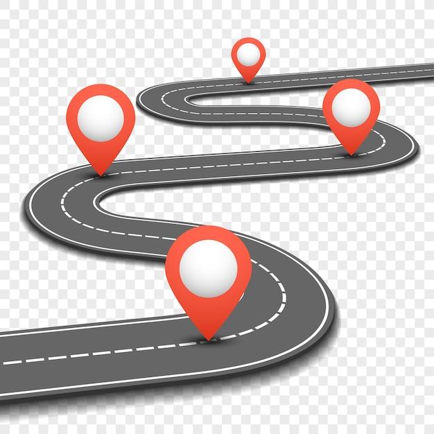 Route de la voiture, rue, conception infographie affaires roadmap route autoroute. plan de la voie et de la direction avec des épingles rouges Vecteur Premium
