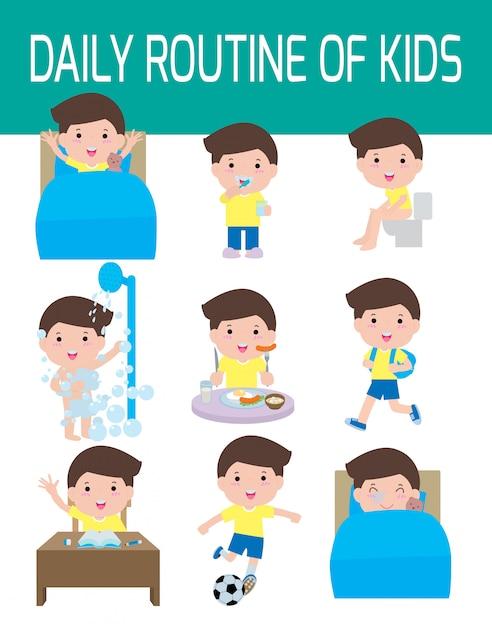 Routine Quotidienne D'enfants Heureux. élément Infographique. Santé Et Hygiène, Routines Quotidiennes Pour Les Enfants, Illustration. Vecteur Premium