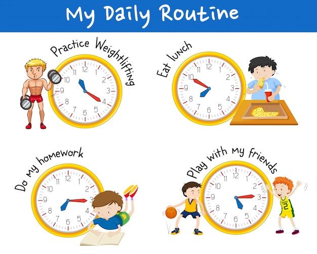 Routine quotidienne pour différentes personnes avec des horloges jaunes Vecteur gratuit