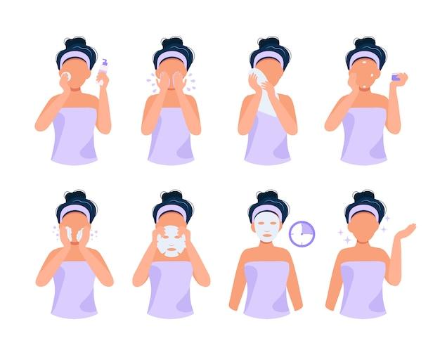Routine de soins de la peau. illustration sertie de fille faisant différentes étapes, soins de la peau, routine de beauté. Vecteur Premium