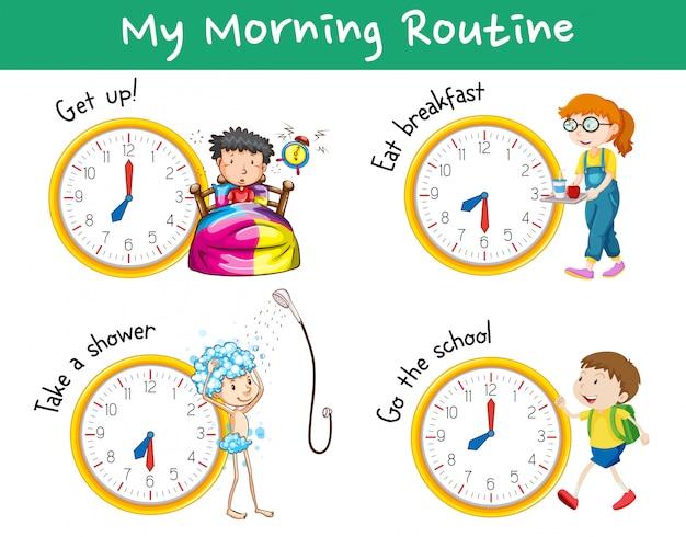Routines Du Matin Avec Des Horloges Et Des Enfants Vecteur Premium