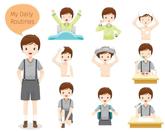 Les Routines Quotidiennes Du Garçon, Diverses Activités, L'apprentissage, La Détente Vecteur Premium