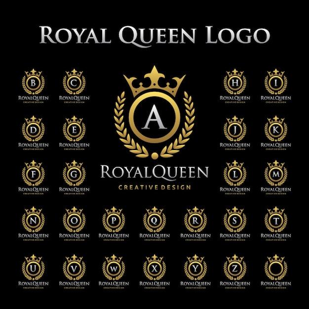 Royal queen logo en alphabétique Vecteur Premium