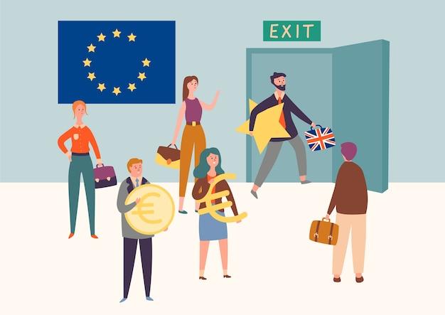 Royaume-uni Sortie De L'union Européenne, Brexit Symbole Concept. L'homme Quitte L'eu Take Star Vecteur Premium