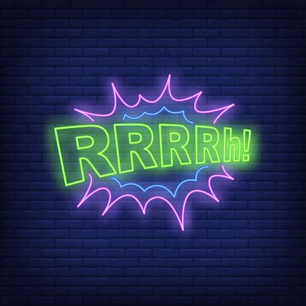 Rrrrh lettrage enseigne au néon Vecteur gratuit