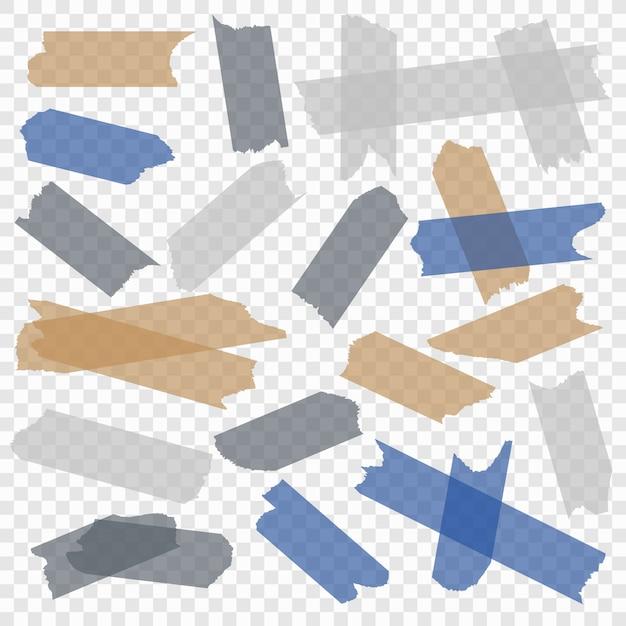 Ruban Adhésif. Rubans Adhésifs Transparents En Papier, Masquant Les Bandes Collantes Des Pièces Collantes. Ensemble Isolé Vecteur Premium