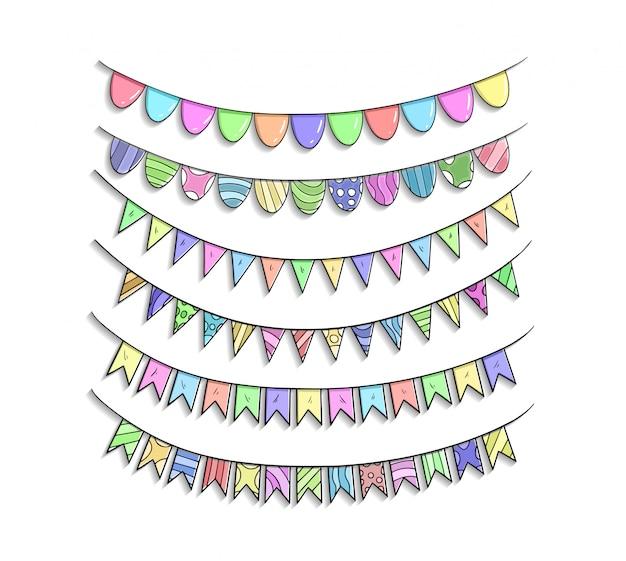 Ruban d'anniversaire définit la main dessin illustration colorée Vecteur Premium