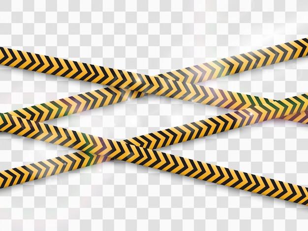 Ruban D'avertissement De Barrière Sur Fond Transparent. Illustration. Vecteur Premium