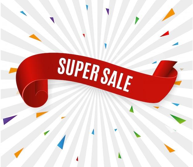 Ruban De Bannière Super Sale. Vecteur Premium