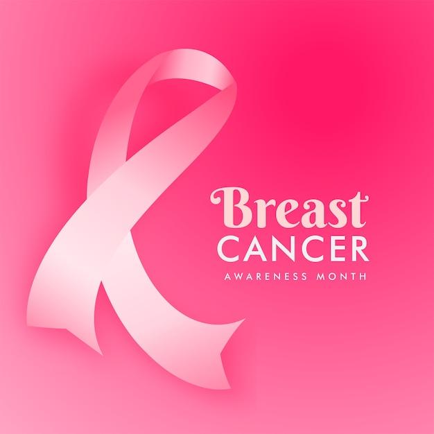 Ruban De Cancer Du Sein Sur Fond Rose Pour Le Concept De Mois De Sensibilisation. Vecteur Premium