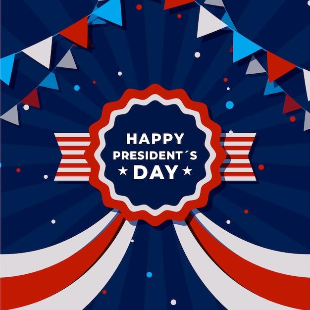 Ruban Et Couleurs Américaines Du Jour Du Président Plat Vecteur gratuit
