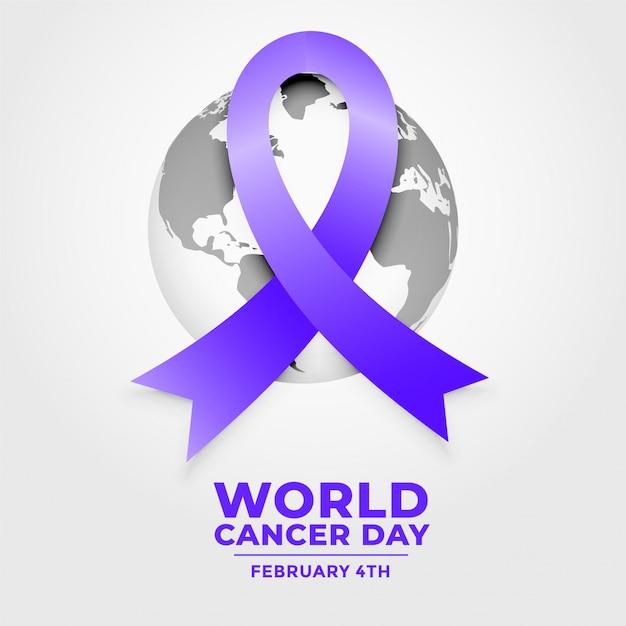 Ruban De La Journée Mondiale Contre Le Cancer Vecteur gratuit