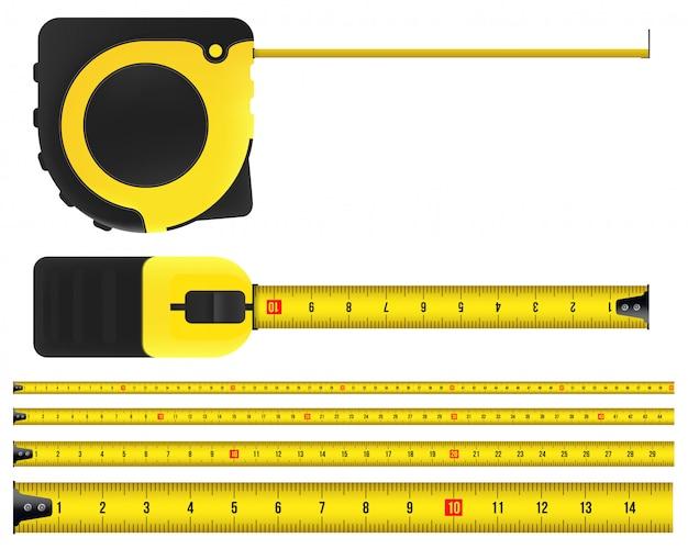 Ruban à mesurer, outil, règle, mètre et roulette. Vecteur Premium