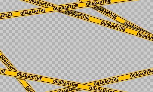 Ruban De Quarantaine Sur Fond Transparent. Panneaux De Signalisation Vecteur Premium