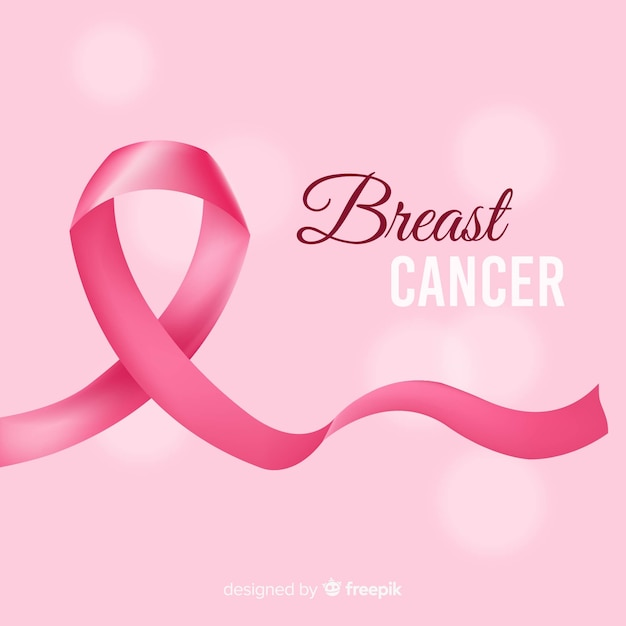 Ruban réaliste de cancer du sein Vecteur gratuit