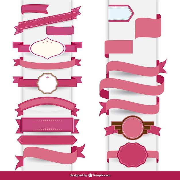 Ruban rose modèle décoratif Vecteur gratuit