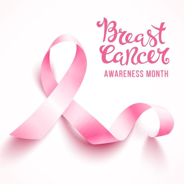 Ruban rose réaliste, symbole de sensibilisation au cancer du sein, isolé sur blanc. . Vecteur Premium