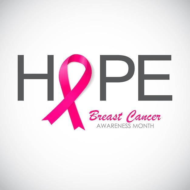 Ruban rose de sensibilisation au cancer du sein Vecteur Premium