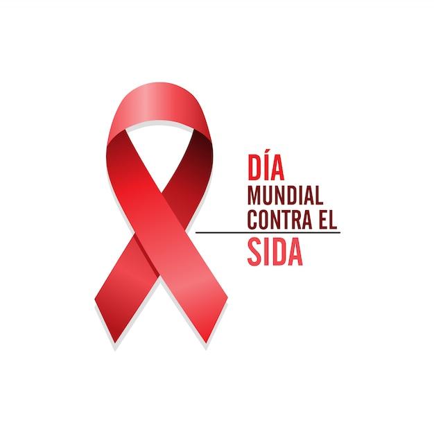Ruban rouge de sensibilisation au sida Vecteur Premium