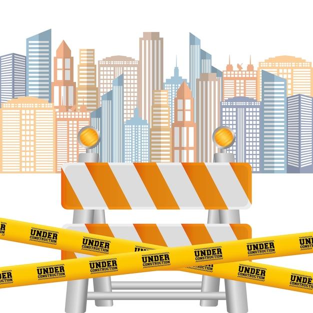 Ruban De Route Barrière Sous Fond De Paysage Urbain De Construction Vecteur Premium