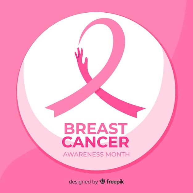 Ruban de sensibilisation au cancer du sein design plat Vecteur gratuit