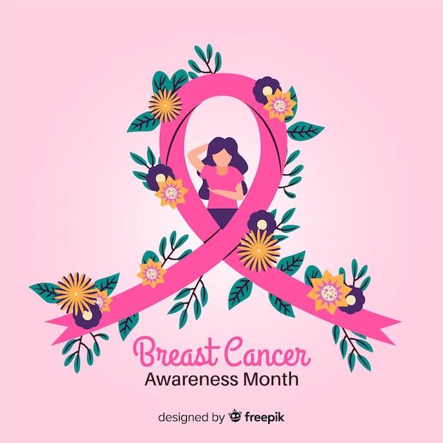 Ruban De Sensibilisation Du Cancer Du Sein Dessiné à La Main Avec Des Fleurs Vecteur gratuit