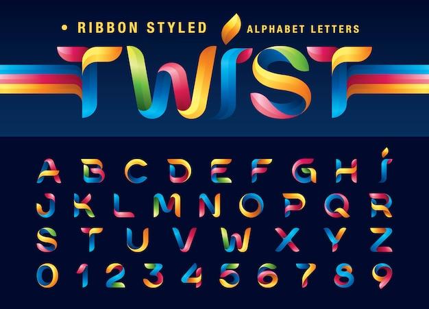 Ruban Torsadé Alphabet Lettres Et Chiffres, Origami Moderne Stylisé Arrondi Vecteur Premium