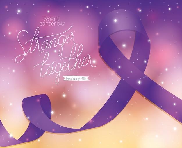 Ruban Violet Et étranger Ensemble Conception De Texte, Journée Mondiale Contre Le Cancer, Campagne De Sensibilisation à La Prévention Des Maladies Et Thème De La Fondation Du 4 Février Vecteur Premium