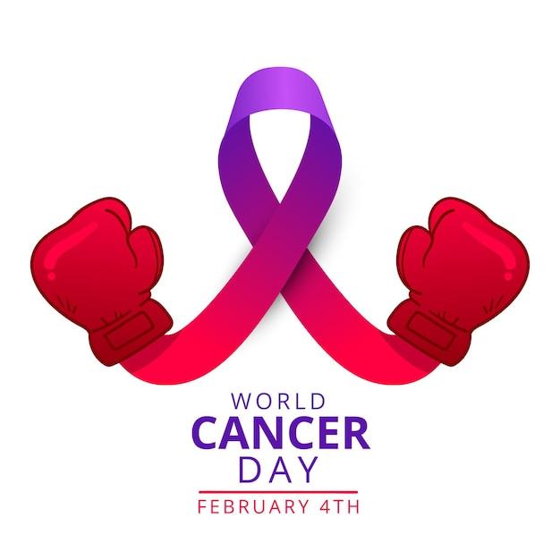 Ruban Violet De La Journée Mondiale Du Cancer Plat Avec Des Gants De Boxe Vecteur gratuit