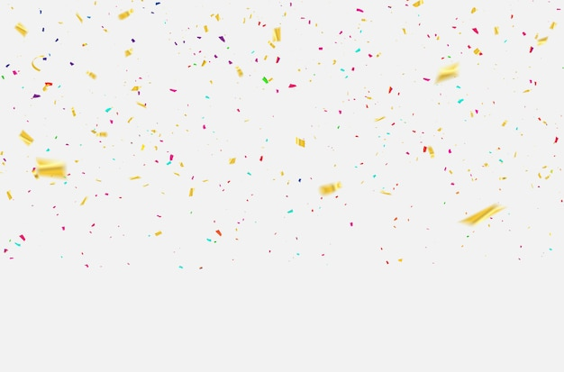 Rubans de carnaval de célébration de confettis. Vecteur Premium