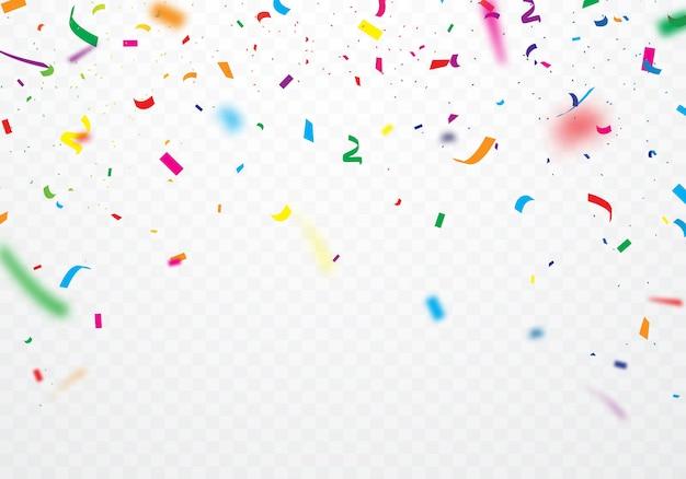 Des rubans colorés et des confettis peuvent être séparés d'un fond transparent Vecteur Premium