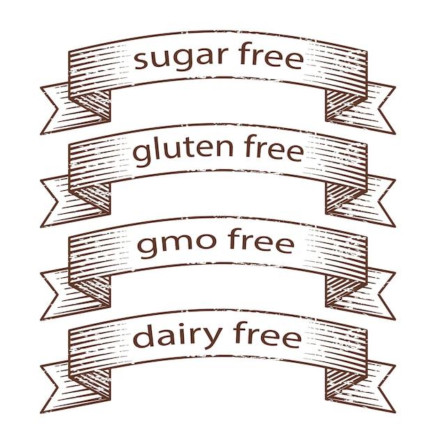 Rubans grunge dessinés à la main - sans gluten, sans sucre, sans produits laitiers Vecteur Premium