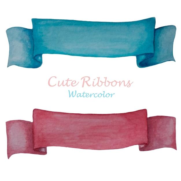 Rubans mignons rose et bleu à l'aquarelle Vecteur Premium