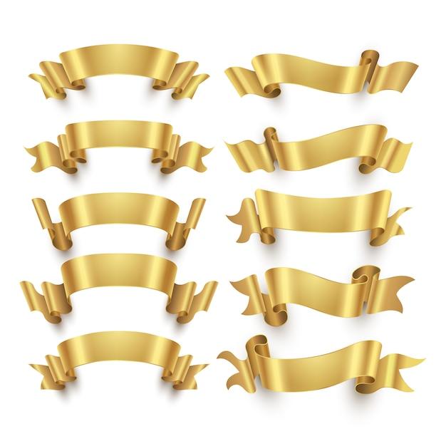 Rubans d'or et vecteur de bannières d'or Vecteur Premium
