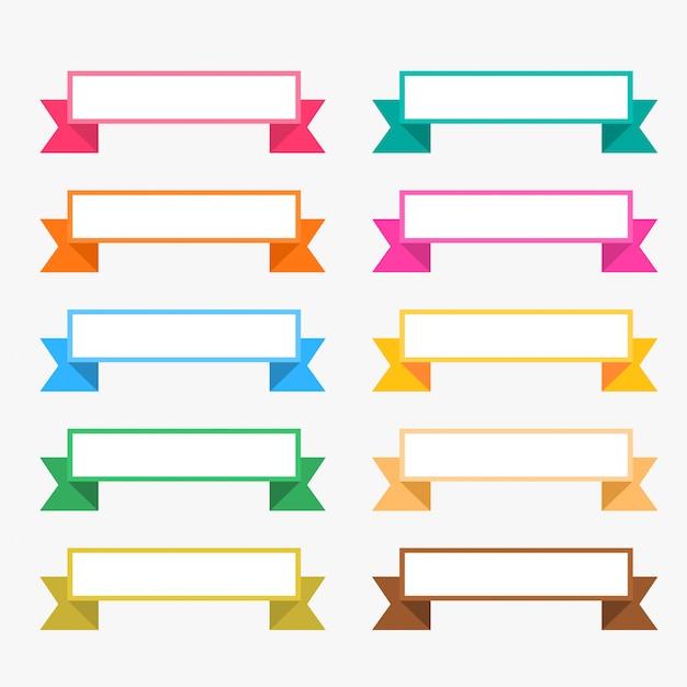 Rubans plats colorés avec espace texte Vecteur gratuit