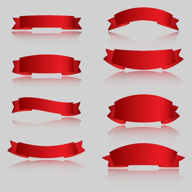 Rubans de vecteur réaliste rouge brillant Vecteur Premium