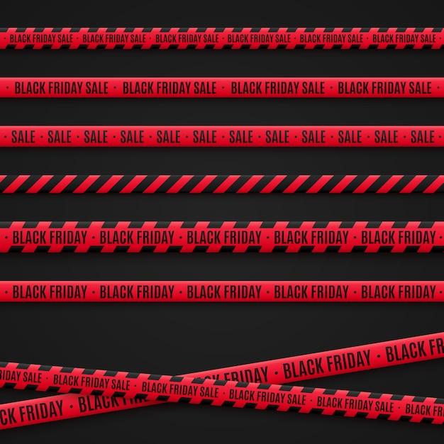 Rubans De Vente Vendredi Noir. Rubans Rouges Sur Fond Noir. éléments Graphiques Vecteur Premium