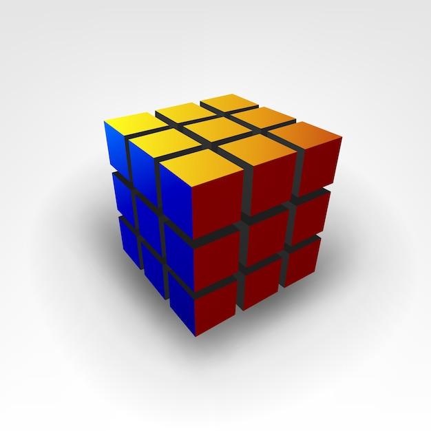 Rubic Cube 3d Illustration Vecteur Premium