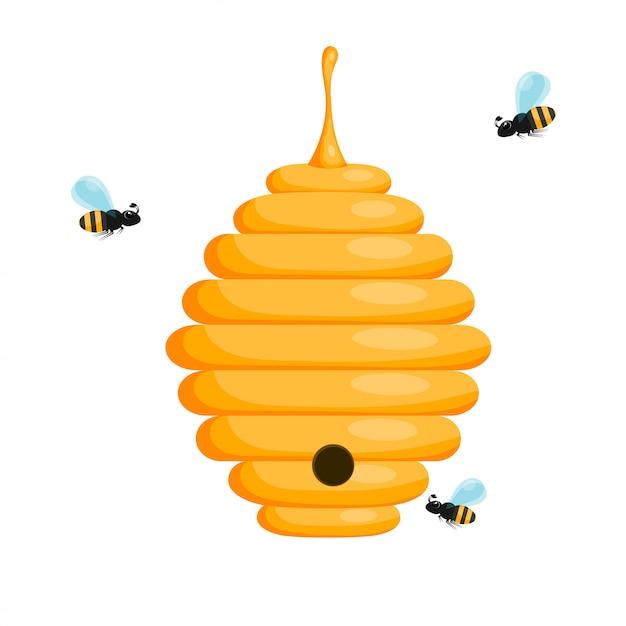 Ruche d'abeille jaune sur fond blanc Vecteur Premium