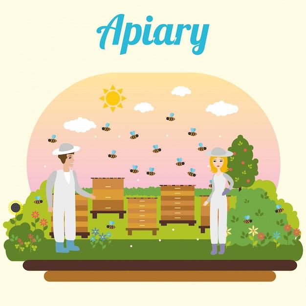 Rucher d'abeilles. apiculteur Vecteur gratuit