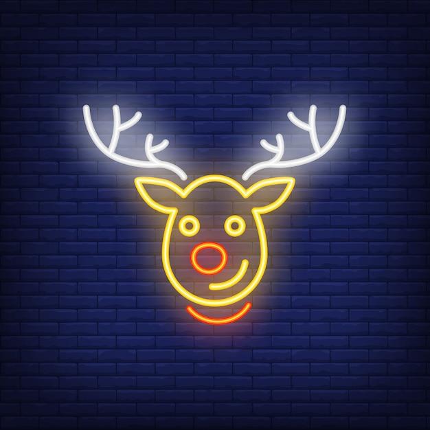 Rudolph néon personnage de dessin animé de rennes de noël. élément de publicité lumineuse de nuit. Vecteur gratuit