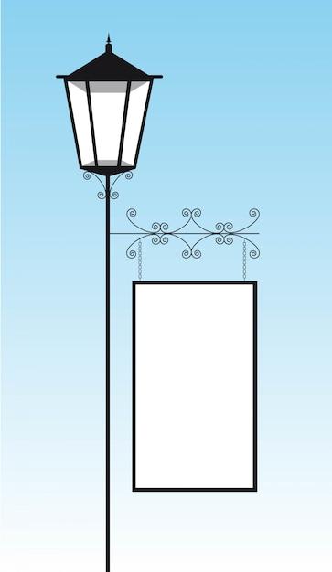 Rue de la lampe noire avec espace de copie sur l'illustration vectorielle ciel Vecteur Premium