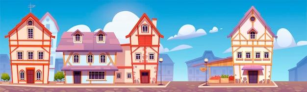 Rue Médiévale Allemande Avec Maisons à Colombages. Bâtiments Européens Traditionnels Dans La Vieille Ville Ou Village Vecteur gratuit