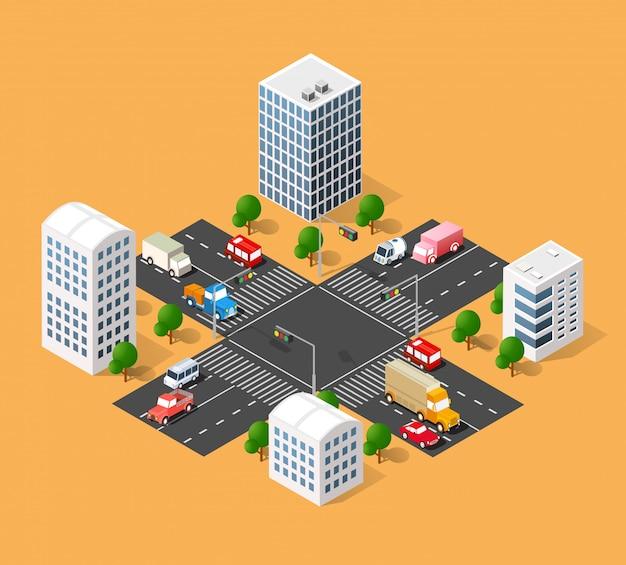 Rue de transport urbain Vecteur Premium