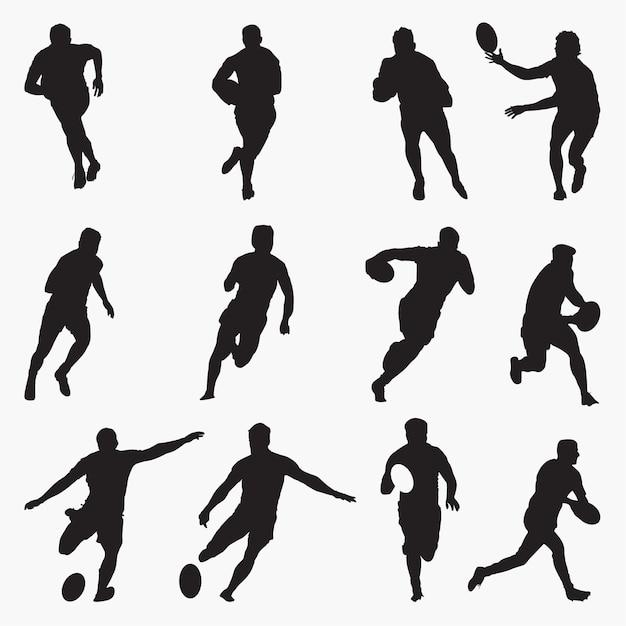 Rugby silhouettes Vecteur Premium