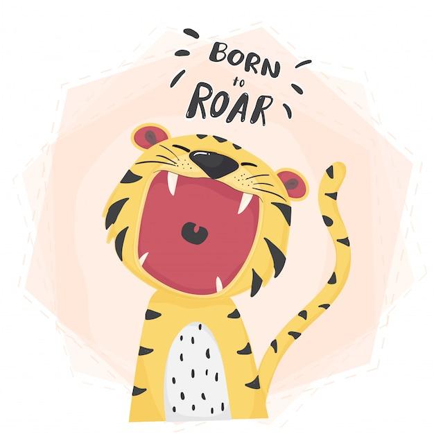 Rugissant bouche ouverte de tigre mignon Vecteur Premium