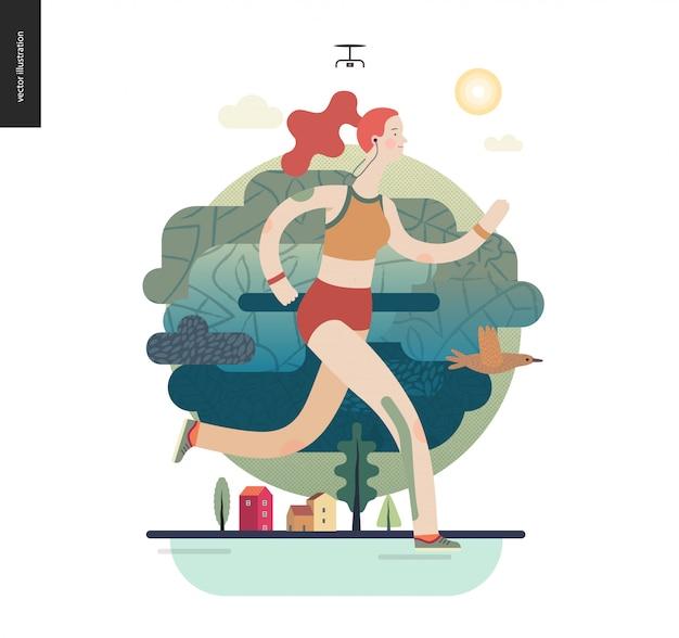 Runnersgirl Exercer Vecteur Premium