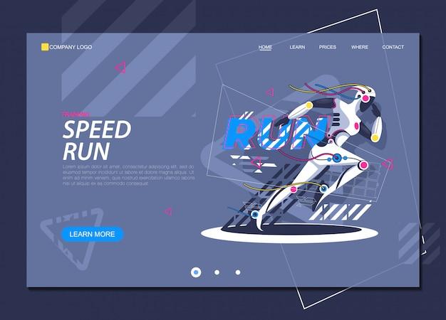 Running girl jogger santé et technologie page d'atterrissage Vecteur Premium
