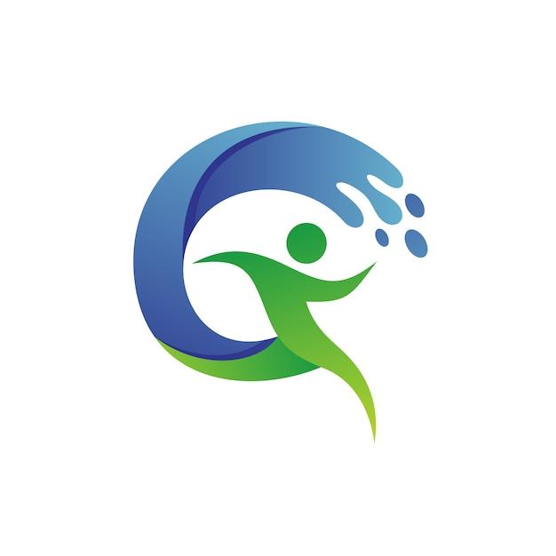 Running man avec de l'eau logo vector Vecteur Premium