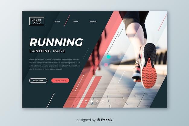 Running page d'atterrissage de sport avec photo Vecteur gratuit